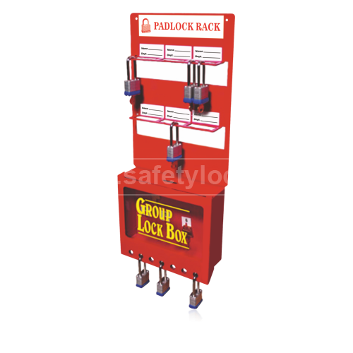 Wallmount Padlock Rack With Group Lock Box Small