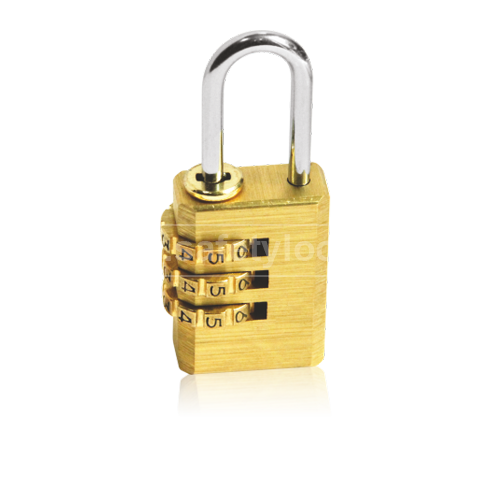 Brass Combination Lockout Padlock - 3 Wheels