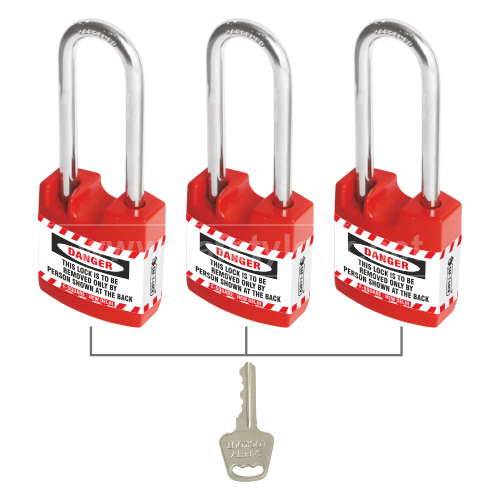 Jacket Padlock with LONG Shackle Key Alike