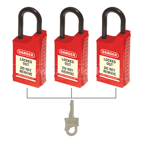HLSP De ELECTRIC Padlock with 42 mm Nylon Shackle - Key Alike