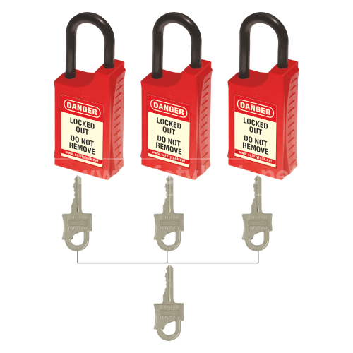 HLSP De - ELECTRIC Padlock with 42 mm Nylon Shackle - Key Different + Master Key