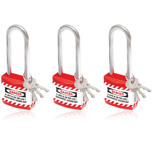 Lockout Tagout - Jacket Padlock with Long Shackle - Key Different