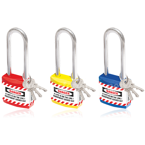 Lockout Tagout - Jacket Padlock with Long Shackle - Set of 3