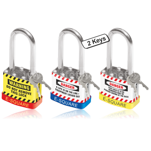 Lockout Padlock with Long Shackle - Set of 3 Nos