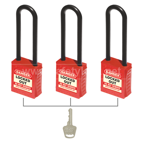 Lockout Tagout - PLSP De-ELECTRIC Padlock - Nylon Shackle - Key Alike