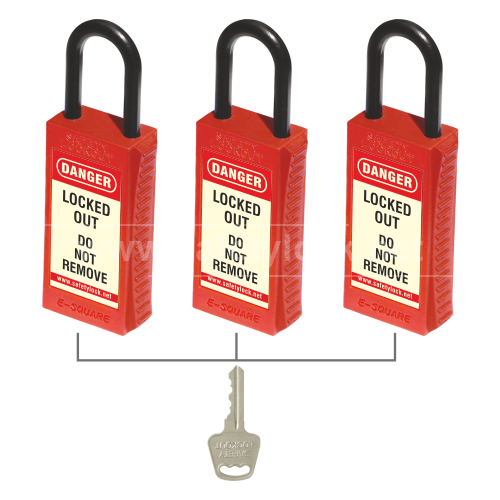 Lockout Padlock - PLSP De - ELECTRIC Padlock with Long Body Key Alike