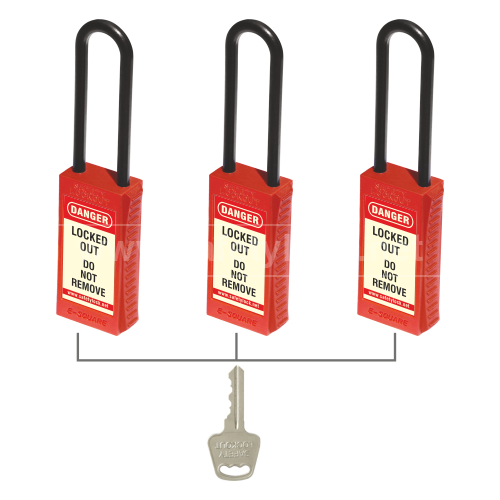 PLSP De - ELECTRIC Padlock with Long Body - 85 mm Nylon Shackle - Key Alike