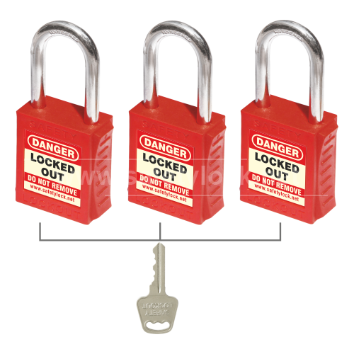 Lockout Tagout - PLSP Padlock with Steel Shackle - Key Alike