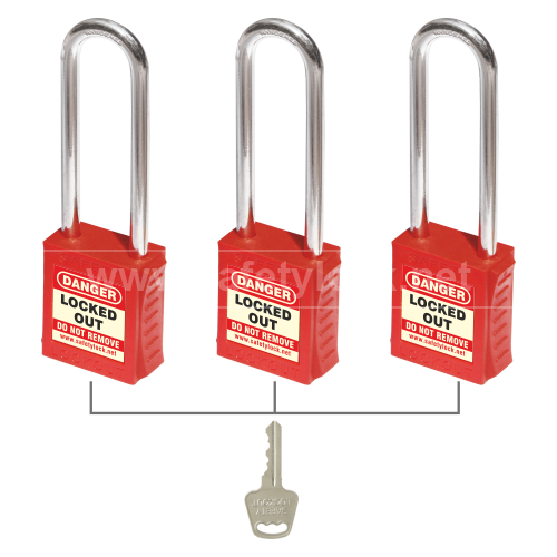 Lockout Tagout - PLSP Padlock with 85 mm Steel Shackle - Key Alike