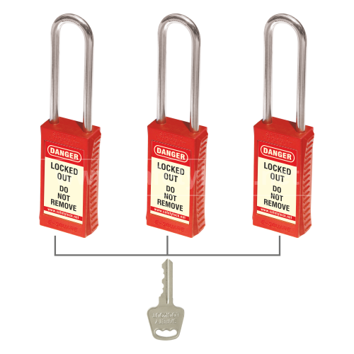 Lockout Tagout - PLSP Padlock with Long Body with Steel Shackle - Key Alike